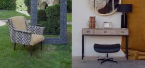 Butaca en el jardín y escritorio